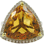 Trillion Cut Citrine and Diamond 14K White Gold Ring