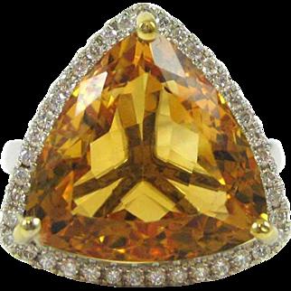 Trillion Cut Citrine and Diamond 14K White Gold Ring - Appraisal Value: $1650