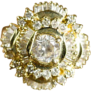 Dazzling display of 59 Diamonds in 14K Yellow Gold Ballerina style Diamond Ring - Appraisal Value: $6,685