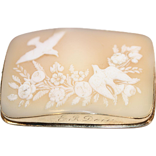 Large rectangle Shell Cameo Brooch in 14k gold frame