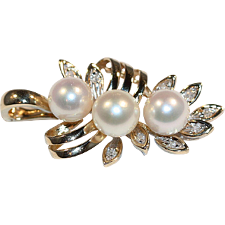 Pearl and Diamond Ring, and matching Pendant Ensemble