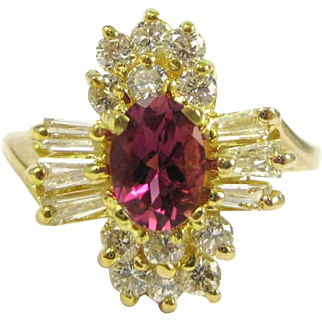 Oval Cut Tourmaline and Diamond 14K Gold Ring- Appraised for $1875