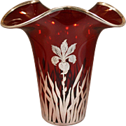Ruby Glass Vase with Sterling Silver Floral Overlay