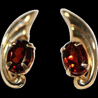 Pair of Garnet and 14K Yellow Gold Stud Earrings
