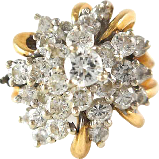 14K White Gold Ring with a Cluster of 29 Diamonds