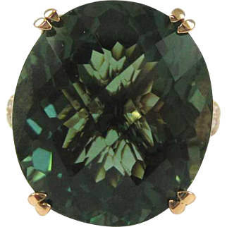 20.9 Carat Green Prasiolite (Green Amethyst) and Diamond 14k Gold Ring - Appraisal Value: $3,100