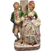 Vintage Porcelain Occupied Japan Victorian Style Lovers Figurine Lamp Base