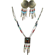 Sterling Silver Native American Indian Jewelry - Necklace and Earring Set