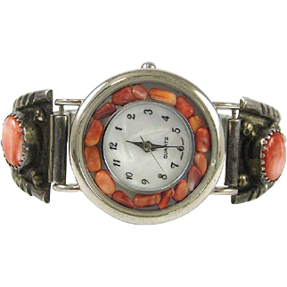 Native American Indian Style Watch with a Silver Band set with Coral Stones