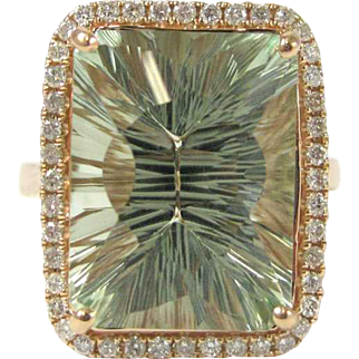 Fancy-Cut Prasiolite and Diamond 14K Rose Gold Ring