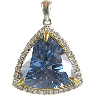 Brilliant Blue Topaz and Diamond 14K White Gold Pendant