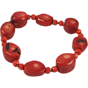 Native American Style Coral Beaded Bracelet