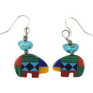 Native American Indian Style Stone Specimen Bear Earrings