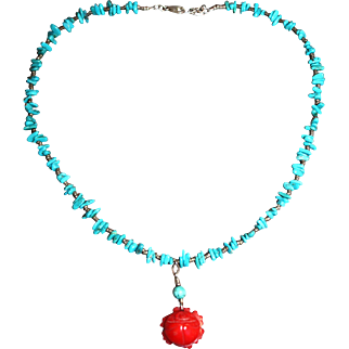 Silver and Turquoise Beaded Necklace with Coral Carved Pendant