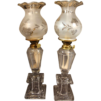 Rare Antique Boston Sandwich Glass Whale Oil Lamps