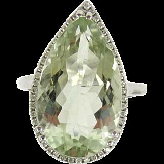 Pear Shaped Prasiolite and Diamond 14K White Gold Ring