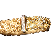 Hand Crafted Fancy Link 18K Gold and Diamond Italian Bracelet