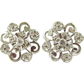 Pair of Diamond and White Gold Flower Stud Earrings