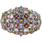 Purple Tanzanite and Pink Tourmaline 14K Yellow Gold Ring