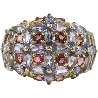 Purple Tanzanite and Pink Tourmaline 14K Yellow Gold Ring