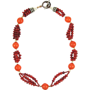 Coral Bead and Tangerine Tridacna Pearl Necklace