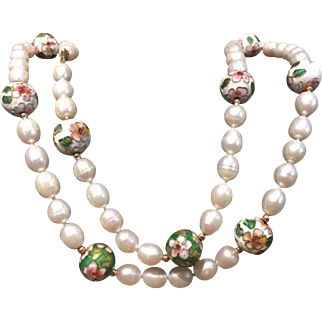 18 Inch Baroque Pearl and Cloisonne Beaded Necklace