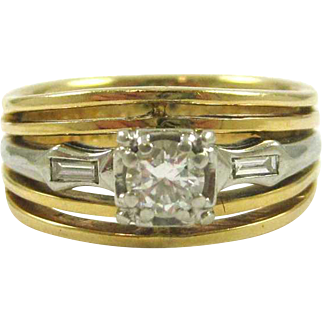 Custom Diamond and Yellow 14K Gold Wedding Ring with White Gold Accent