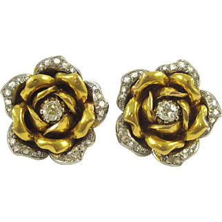 18K White and Yellow Gold Earrings with 20 Rose Cut Diamonds Centered Around a European Cut Diamond