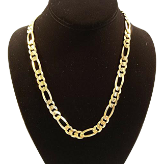 14k Gold Figaro Link Necklace