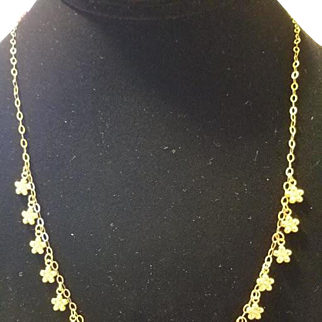 Delicate 14k Gold Daisy Chain Necklace