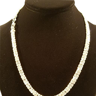 Sterling Silver Reversible Byzantine Chain Necklace