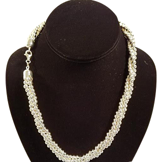 Sterling Silver Triple Strand Bead Necklace