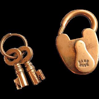 Small brass Victorian padlock with keys, heart shaped, hand made