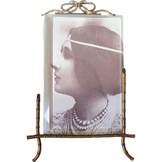 French Art Deco brass photo picture frame with bevelled glass