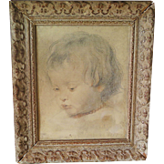Albertina facsimile print after P. Rubens in carved wooden frame, ca. 1930