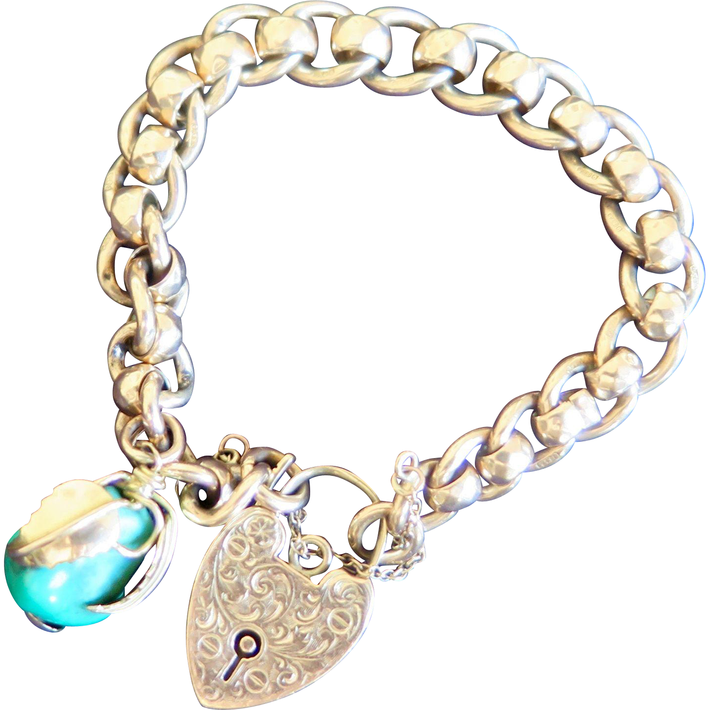 Edwardian heart lock 9k gold charm bracelet with turquoise pome
