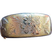 Midcentury silver cuff bracelet with floral engraving, Birmingham 1942