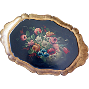 Handpainted florentine tray, made in Italy, midcentury