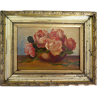 French oil on board, roses in a vase, early 20th Century