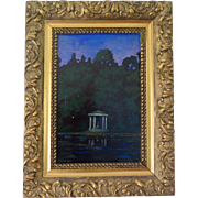 "Oil on board, ""Night pavillion"" under a purple sky, early 20th Century, signed Eichinger"