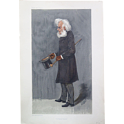"Henrik Ibsen, Vanity Fair chromolithograph caricature, 1901. ""The Master Builder"", signed Snapp in the plate."