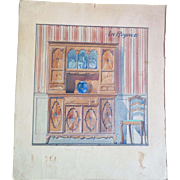 Antique watercolor rendering, interior study, end 19th - early 20th Century