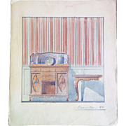 Antique watercolor and gouache rendering, interior study, end 19th - early 20th Century