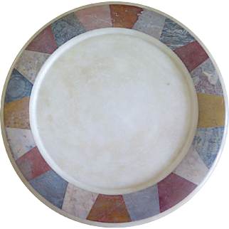 White Marble Speciman Shallow Dish inset with various mixed stones (19th Century)