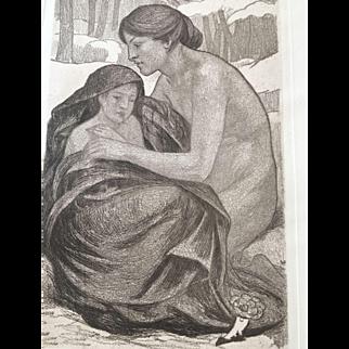 """Aquatint by Art Nouveau Master Emile Berchmans (1867-1947), """"La Charité"""""""