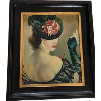 Oil on Board, Woman in style Belle Epoque-Lautrec, signed and dated, framed.