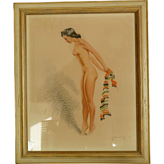 Pin-Up color etching by Roger Hebbelinck, 30/350, Mid Century.