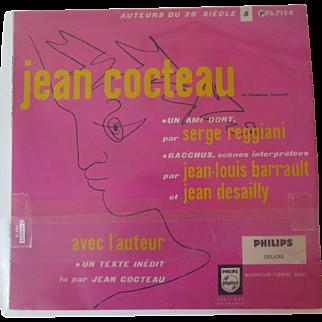 """Jean Cocteau, vintage vinyl LP """"Un Ami Dort"""" """"Bacchus"""" + Texte Inédit Dit Par Jean Cocteau"""