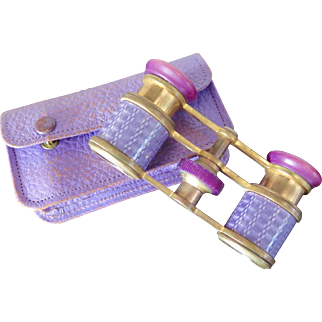 Opera binoculars in leather case, guilloché, pink and purple