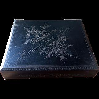 """Souvenir de Paris"", Large wooden box with all around intaglio, 1900s"